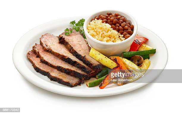 Sliced Brisket with Beans and Rice