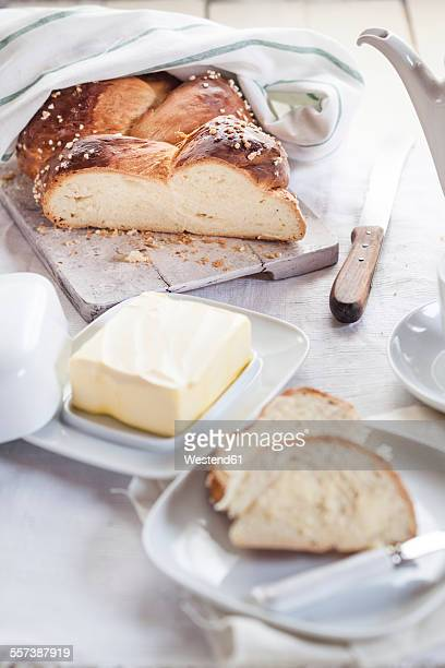Sliced Challah and butter