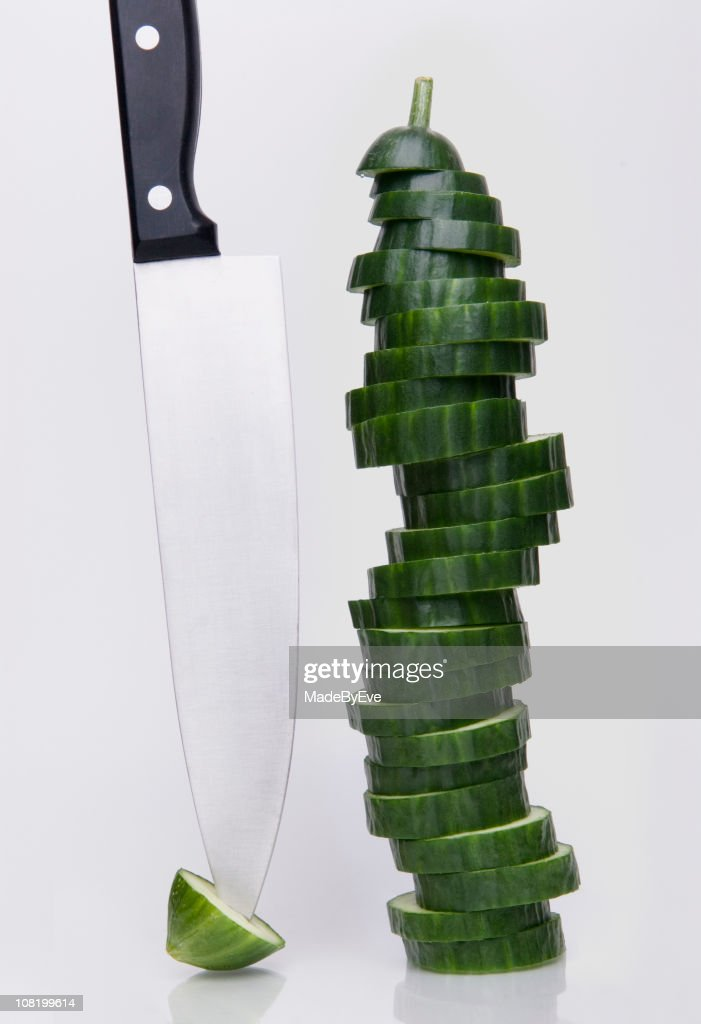 Sliced Cucumber & knife : Stock Photo