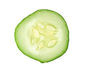 sliced cucumber isolated on white background