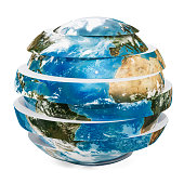 Sliced Earth Globe, 3D rendering isolated on white background. The source of the map - https://svs.gsfc.nasa.gov/3615