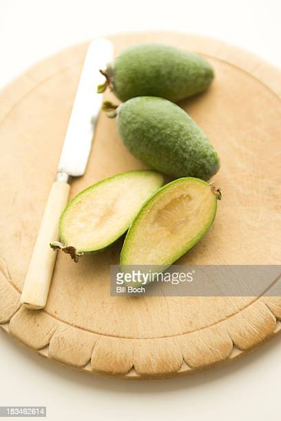 Sliced Feijoa fruit on a cutting board