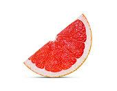 sliced grapefruit isolated on white background