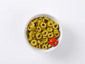 bowl of sliced green olives