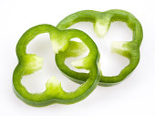 Sliced green pepper isolated on white