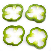 Sliced green pepper isolated on white, set