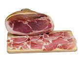 Sliced ham on cutting board,