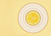 Sliced lemon on plate
