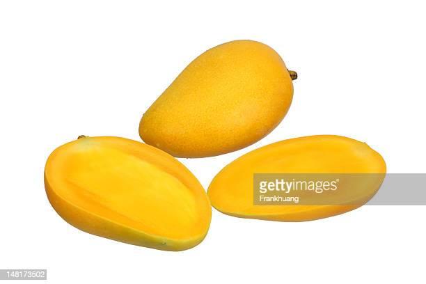 Sliced mango isolated on white background