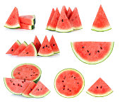 Sliced of watermelon isolated on the white background.