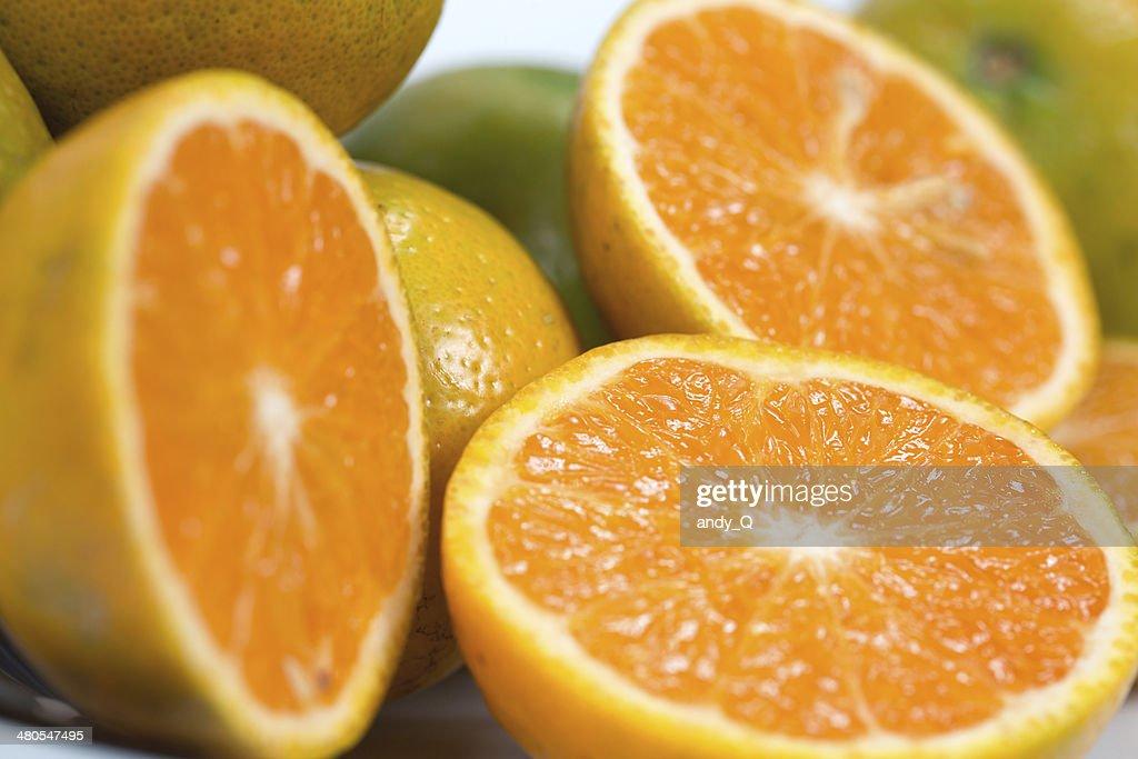 Sliced orange fruit segments : Stock Photo