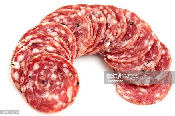 Sliced peppered salami