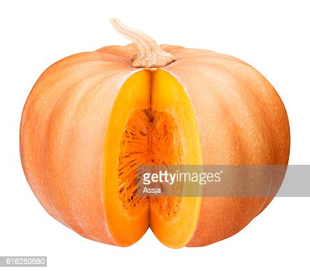 Sliced pumpkin isolated clipping path : Foto de stock