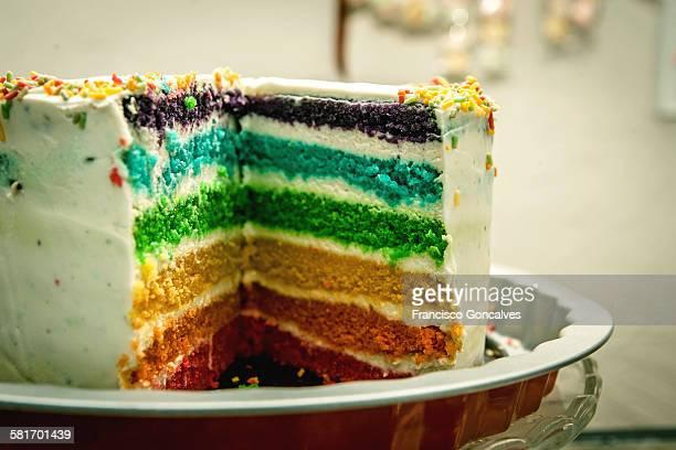 Sliced rainbow cake