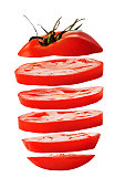 Sliced red tomato isolated on white background