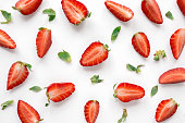 Strawberry creative pattern. Food backdrop.
