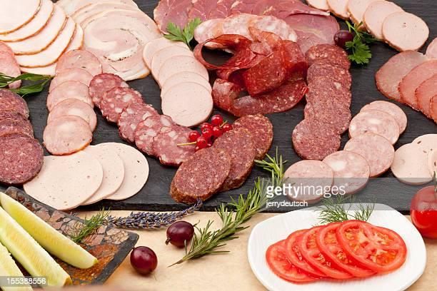 Scheiben salami und Aufschnitt