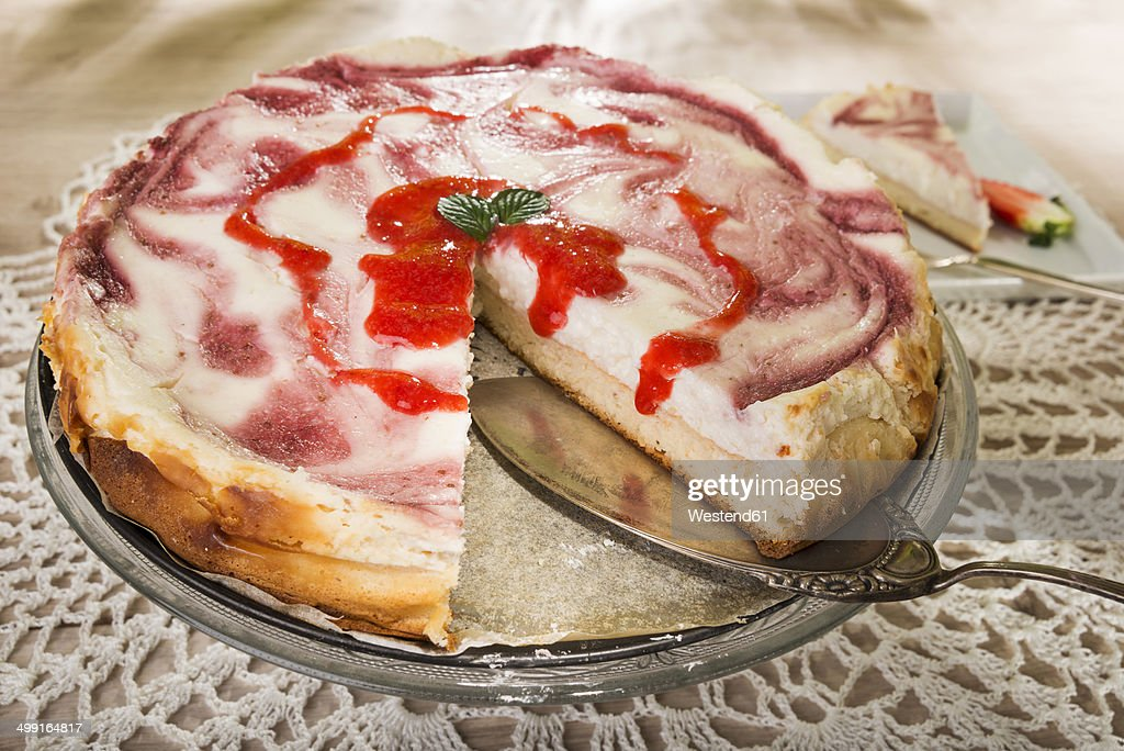 Sliced strawberry cheese cake