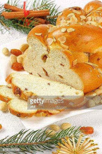 sliced sweet braided bread : Foto de stock