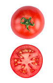 Tomato half slice isolated on white background, top view