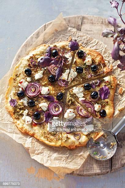 Sliced vegetarian pizza