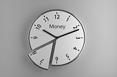 A sliced wall clock on white background with the word 'Money' on it as an imaginary brand.