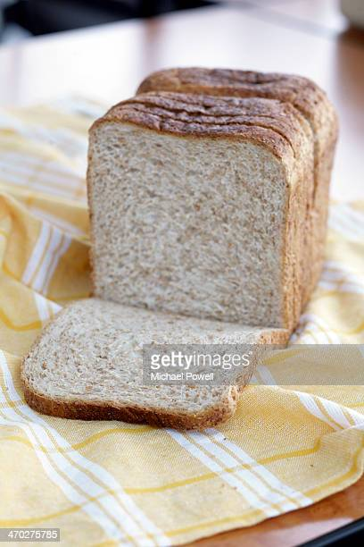 Sliced wholemeal bread loaf.