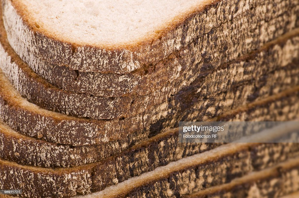 Slices of bread, close-up : Stock Photo
