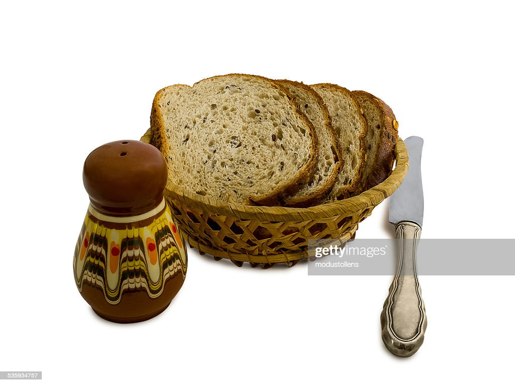 Slices of bread in a basket : Stock Photo