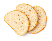 Slices of bread isolated on white background. Top view