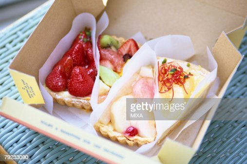 Slices of cake in a box : Stock Photo