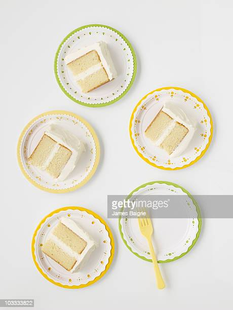 Slices of cake on paper plates