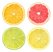 Slices of citrus fruits isolated on white.