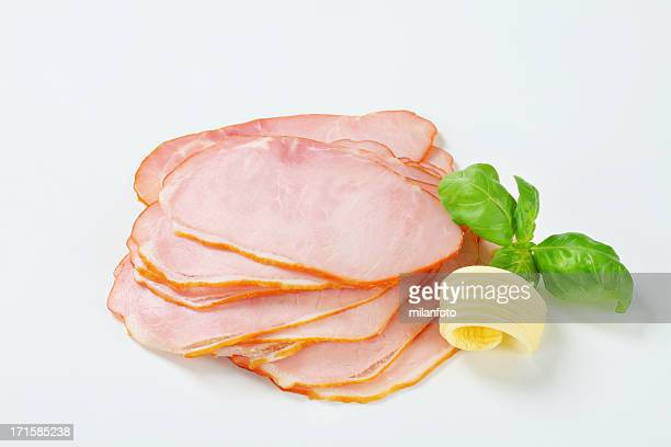 Slices of ham with butter curl
