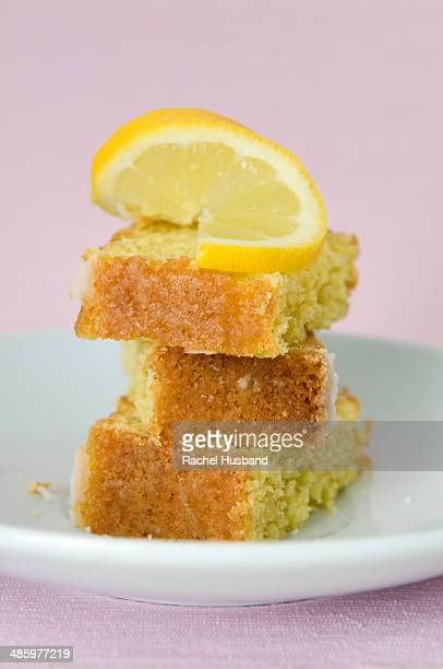 Slices of home made lemon cake on plate