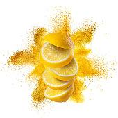 Slices of lemon flying against yellow powder explosion isolated on white background