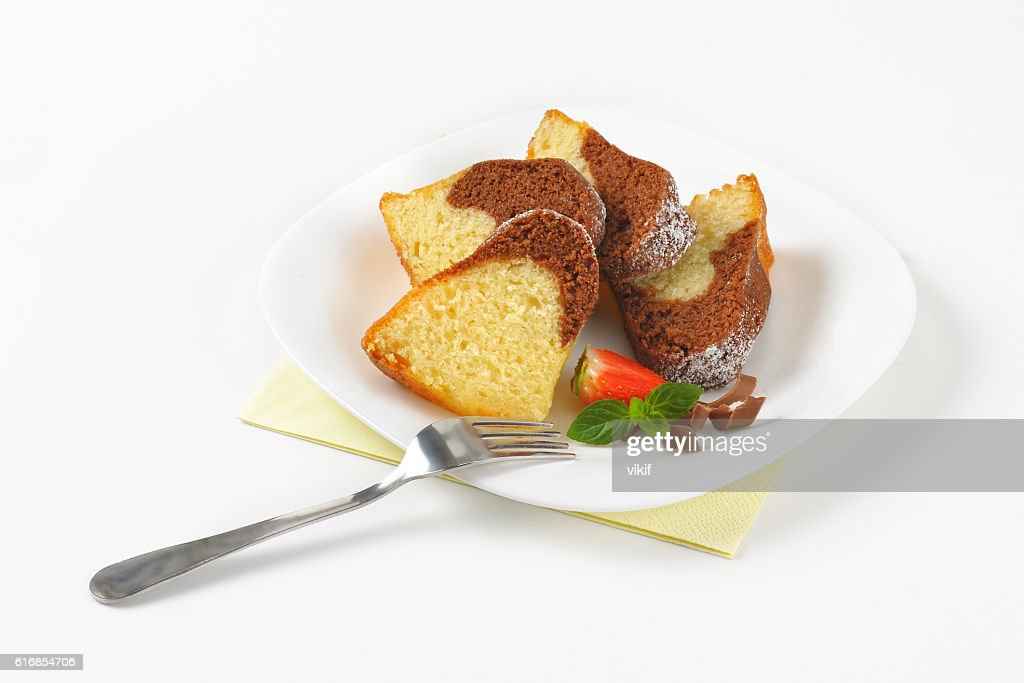 slices of marble bundt cake : Stock Photo