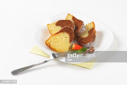slices of marble bundt cake : Stock Photo