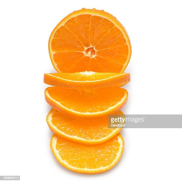 Slices of oranges on a white background