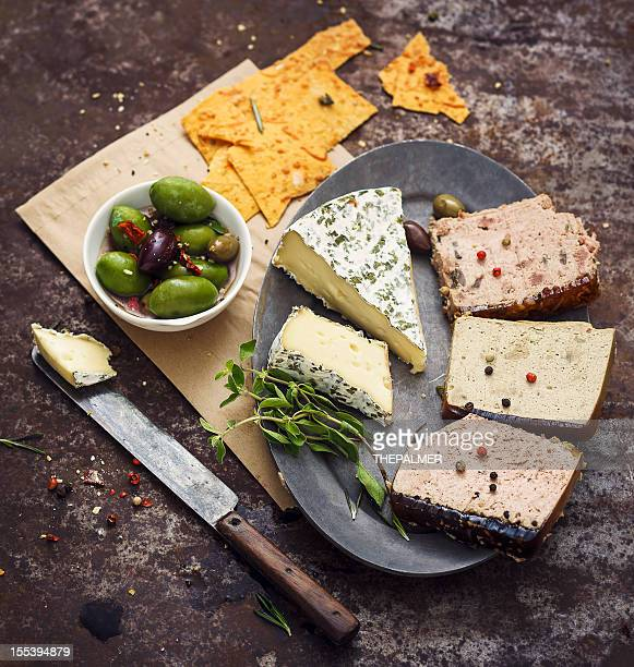 Slices of Pate and Brie Cheese