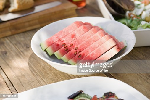 Slices of watermelon in a bowl : Stock Photo