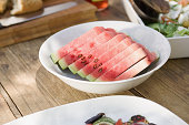 Slices of watermelon in a bowl