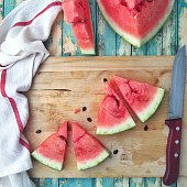 Slices of watermelon on a chopping board
