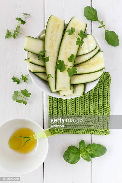 Slices of zucchini in a bowl