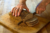Slicing Fresh Whole Wheat Beer Bread