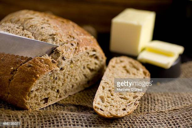Slicing whole wheat bread