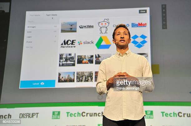 Slidescom presents a product onstage during TechCrunch Disrupt SF 2016 at Pier 48 on September 13 2016 in San Francisco California