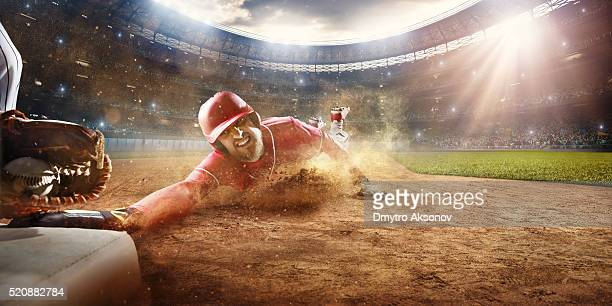 Sliding and tagging on third base