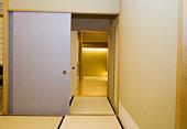 Sliding doors in hotel leading to restaurant