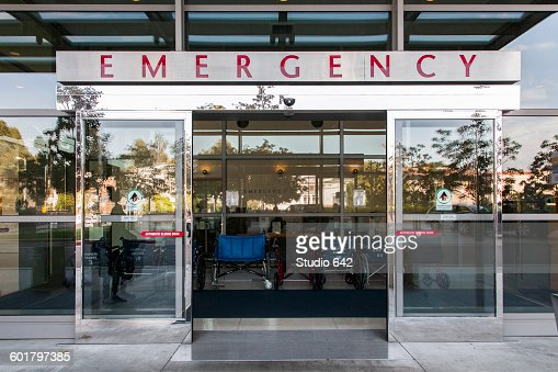 Sliding Doors Of Emergency Room In Hospital Stock Photo